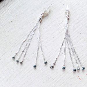 Blue Diamond Tassle Earrings in Silver